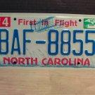 2014 North Carolina EX License Plate NC #BAF-8855