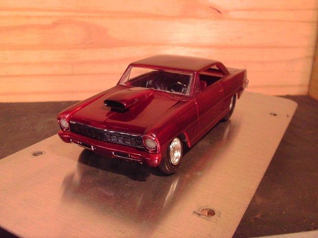 1966 Chevrolet Chevy II Nova Pro Street 1:25 Scale Model in Burgundy Metallic