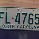 1971 North Carolina Rat Rod License Plate Tag NC #FL-4765 YOM