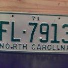 1971 North Carolina Rat Rod License Plate Tag NC #FL-7913 YOM