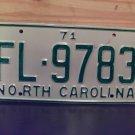 1971 North Carolina Rat Rod License Plate Tag NC #FL-9783 YOM