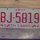 1977 North Carolina Rat Rod License Plate Tag NC #BJ-5819 YOM