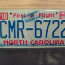 2015 North Carolina License Plate Tag NC #CMR-6722