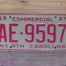 1987 North Carolina Commercial License Plate With Registration NC #AE-9597