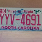 2010 North Carolina Mint Unissued License Plate NC YYV-4691