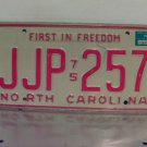 1976 North Carolina NC License Plate Tag JJP-257