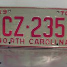 1970 North Carolina YOM Passenger License Plate NC #CZ-235