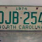 1974 North Carolina License Plate NC #DJB-254