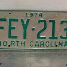 1974 North Carolina License Plate NC #FEY-213