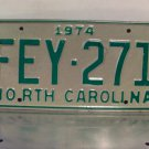 1974 North Carolina License Plate NC #FEY-271