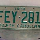 1974 North Carolina License Plate NC #FEY-281