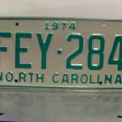 1974 North Carolina License Plate NC #FEY-284