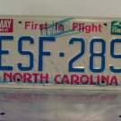 1988 North Carolina First in Flight License Plate NC #ESF-289