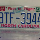 1988 North Carolina First in Flight License Plate NC #BTF-3994