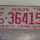 1990 North Carolina NC Dealer License Plate Tag #FD-36415