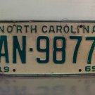 1969 North Carolina NC Passenger YOM License Plate AN-9877