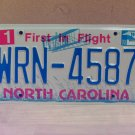 2008 North Carolina NC Blue Letter License Plate Tag #WRN-4587 EX-N