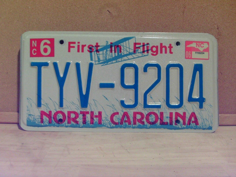 2006 North Carolina NC License Plate Tag TYV-9204 EX-N