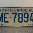 1972 North Carolina NC Passenger YOM License Plate ME-7894 EX-U