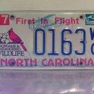 1995 North Carolina NC Wildlife License Plate Tag #0163WC First Year Natural