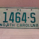 1971 North Carolina Truck License Plate NC #1464-S