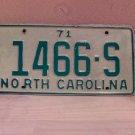 1971 North Carolina Truck License Plate NC #1466-S