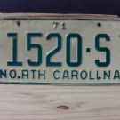 1971 North Carolina Truck License Plate NC #1520-S