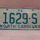 1971 North Carolina Truck License Plate NC #1629-S