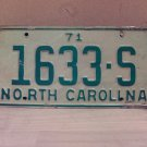 1971 North Carolina Truck License Plate NC #1633-S