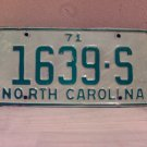 1971 North Carolina Truck License Plate NC #1639-S