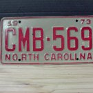 1973 North Carolina NC License Plate Tag #CMB-569