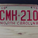 1973 North Carolina NC License Plate Tag #CMH-210