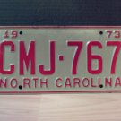 1973 North Carolina EX YOM License Plate Tag NC #CMJ-767