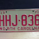 1973 North Carolina EX YOM License Plate Tag NC #HHJ-836