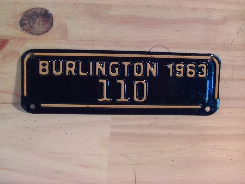 1963 Burlington North Carolina Motorcycle City Tax License Plate NC #110