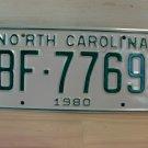 1980 North Carolina Rat Rod License Plate Tag NC #BF-7769 YOM