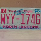 2008 North Carolina NC Red Letter License Plate Tag WYY-1746 EX-N