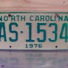 1976 North Carolina NC Truck YOM License Plate AS-1534