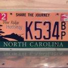 2012 North Carolina NC Blue Ridge Parkway License Plate Tag #K534BP Rare Blue Ink
