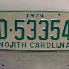 1974 North Carolina Mint YOM Trailer License Plate NC D-53354