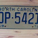 1972 North Carolina NC EX Passenger YOM License Plate DP-5421