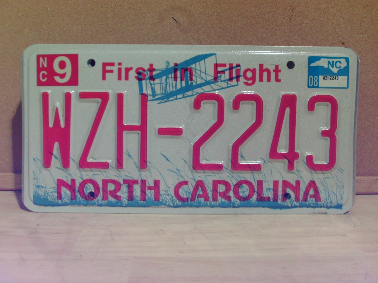 2008 North Carolina NC Red Letter License Plate Tag WZH-2243 EX-N