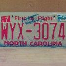 2008 North Carolina NC Red Letter License Plate Tag WYX-3074 EX-N
