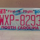 2008 North Carolina NC Red Letter License Plate Tag WXP-8293 EX-N
