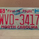 2008 North Carolina NC Red Letter License Plate Tag WVD-3417 EX-N
