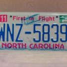 2007 North Carolina NC License Plate Tag #WNZ-5839 EX-N