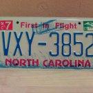 2007 North Carolina NC License Plate Tag #VXY-3852 EX-N