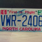 2007 North Carolina NC License Plate Tag #VWR-2406 EX-N
