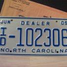 2005 North Carolina Independent Dealer License Plate NC #ID-102306