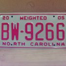 2005 North Carolina Weighted Truck License Plate NC #BW-9266 Mint!